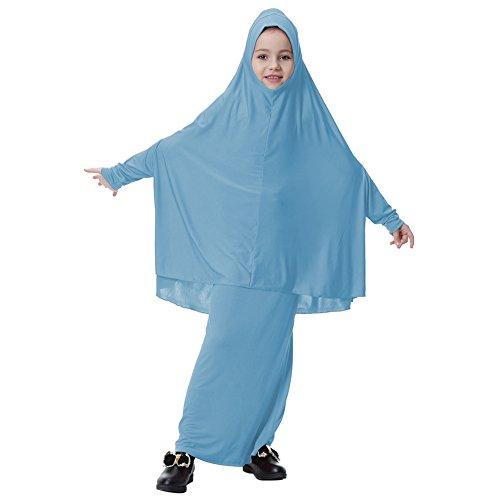 Blu Abaya Bambina Musulmani Jersey Islamici Abiti Maxi Veste Luce Vestiti 2pc Abayas In Hijab Weixinbuy vSq6v