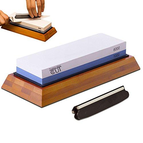 Premium Knife Sharpening Stone Double-Sided 1000/6000 Grit for Sharpening & Honing — Whetstone Ideal to Sharpen Chefs Knife & Kitchen Knife — Anti-slip Bamboo Base & Angle Guider Free Bonus