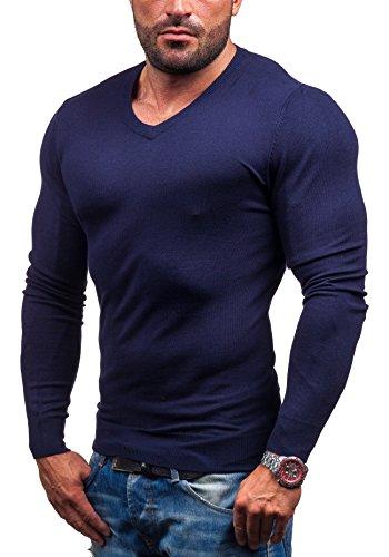 BOLF Herrenpullover Sweatshirt Sweatjacke Top LOUIS PLEIN 6002 Dunkelblau M [5E5]
