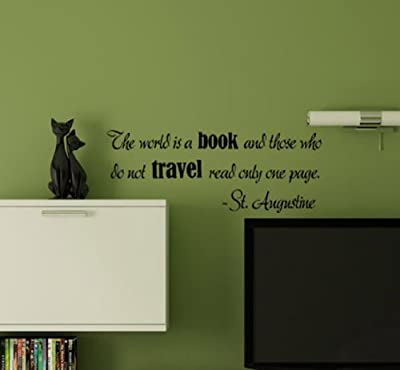 """""""The World Is a Book""""-St Augustine Vinyl Wall Decal"""