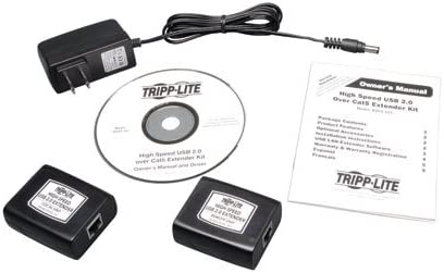 100M Tripp Lite 1-Port USB 2.0 over Cat5 // Cat6 Extender Hi-Speed USB up to 330-ft. B203-101 Transmitter and Receiver