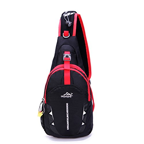 Portable Multi-functional Water Repellent Unisex Outdoor Sports Chest Pack Bum Bag Sling Bag Hiking Daypacks Adjustable Strap Shoulder Backpack Cross Body Bag Black