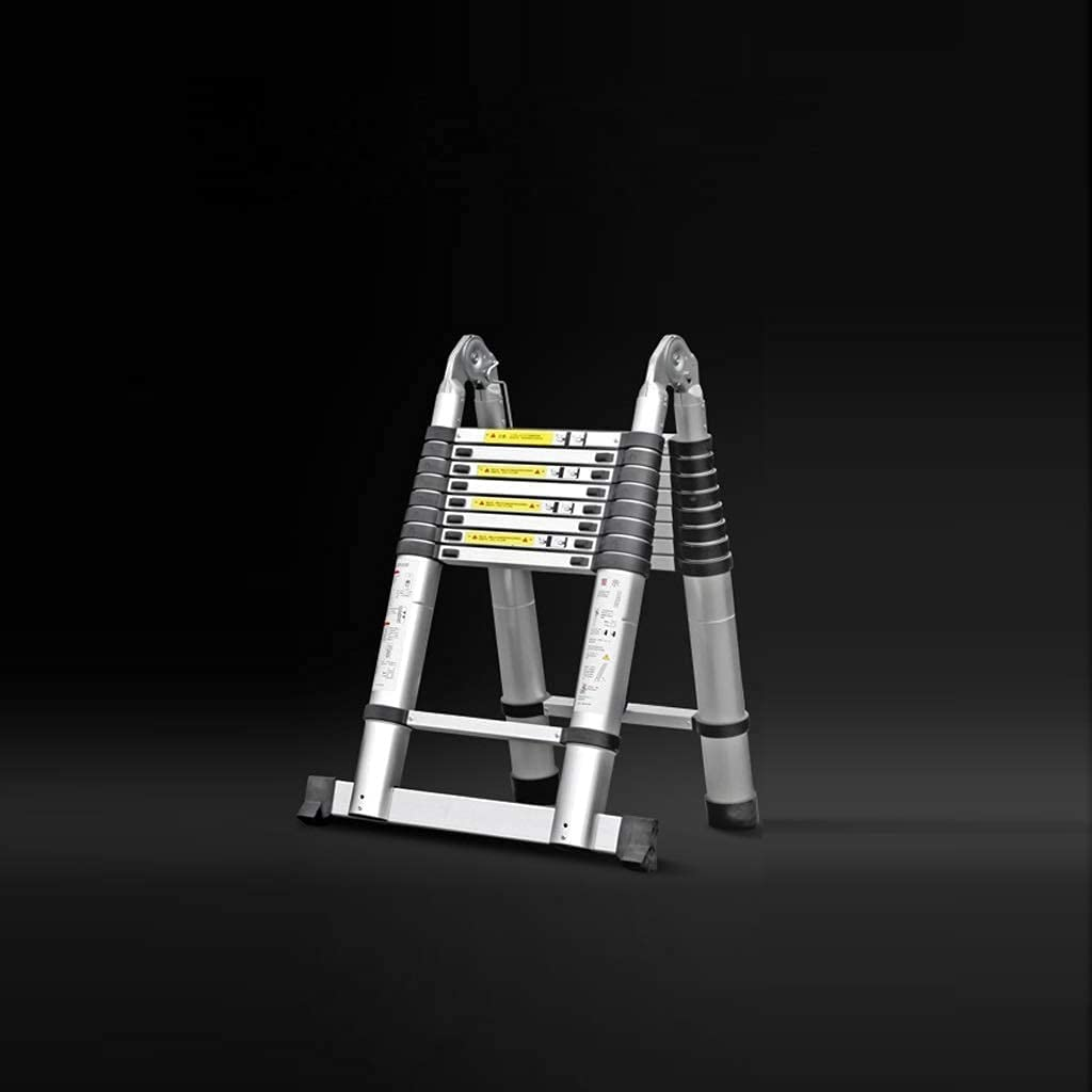 LYLSXY Ladder,Portable Aluminum Telescopic Extension Ladder with Stabilizer,3.8M/12.5Ft Folding Multifunctional Steps Ladder for Home Use Roof Rv Outdoor Activities,Black