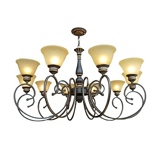 Starry Lighting SL-63624-10,Vintage 10-Light Metal Chandelier with Frosted Glass Shade,Retro Ceiling Lighting Chandelier for Living Room,Dining Room