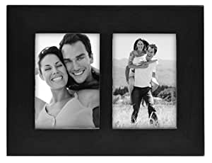 Malden International Designs Linear Classic Wood Picture Frame, Holds 2.5x3.5 Picture, Split Double, Black