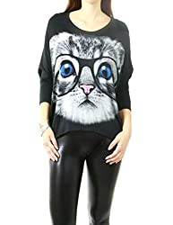 Women's Animal Letter Print 3/4 Sleeve Fashion Top Collection