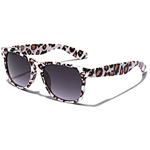 Children Colorful Animal Print Wayfarer Sunglasses Age 6-14 - White & Red