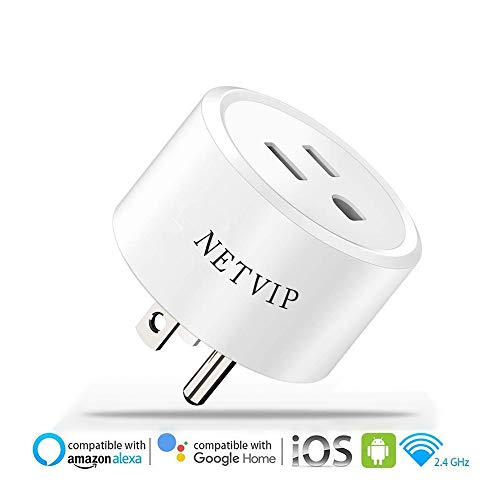 Netvip Smart WiFi Plug Outlet Compatible with Alexa and Google Home IFTTT, Remote Control Your Home Appliances from Anywhere, Voice Control and Timer Function Wireless Socket, No Hub Required