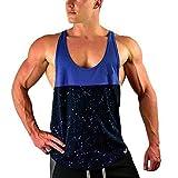 Men Shirts Tank Top Splicing Printed Sports Vest Racer Muscle Sleeveless Shirt Bodybuilding Tees