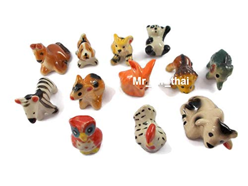 Figurines Collection Elephant Painted Ceramic Miniatures Animals Porcelain 12pc (Large Ceramic Animals)