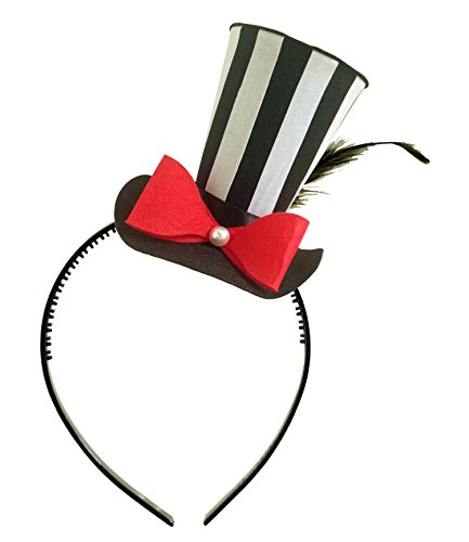 [Black Striped Mini Top Hat Alice in Wonderland Decoration Mad Hatter Tea Party Birthday] (Kids Mad Hatters Tea Party Costumes)