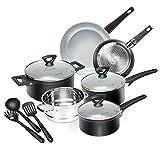 Duxtop 12-Piece Nonstick Cookware Set, Dishwasher Oven Safe Ceramic...