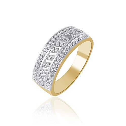 V. K. Jewels Gold And Rhodium Plated Ring – Fr1119G Size 18 [Vkfr1119G18] For Women