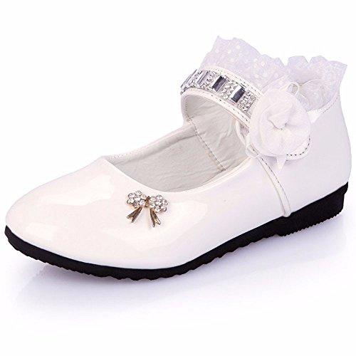 Flat Pull Rhinestone (Princess Shoes for Girls Rhinestone Flat Shoes with Lace Children Velcro Shoes Mary Jane Princess Party Dress Shoes for Toddlers & Girls)