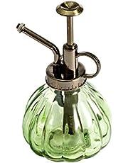 hamacy Rode glazen sproeifles planten, 16 cm lang, vintage stijl, met bronzen kunststof toppomp, één hand spuitfles voor binnen, planten, reiniging