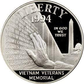 1994 P Vietnam War Veterans Memorial Commemorative Proof Silver Dollar DCAM OGP Box w/COA US Mint