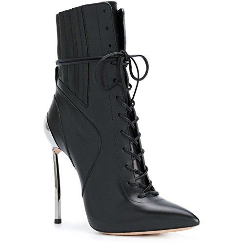 Heel Black up 4U Sole Best Spring Toe Stiletto High Autumn Women's Genuine Zipper Leather Rubber 12CM Pointed Shoes Metal Heels Lace 6qnqRwda