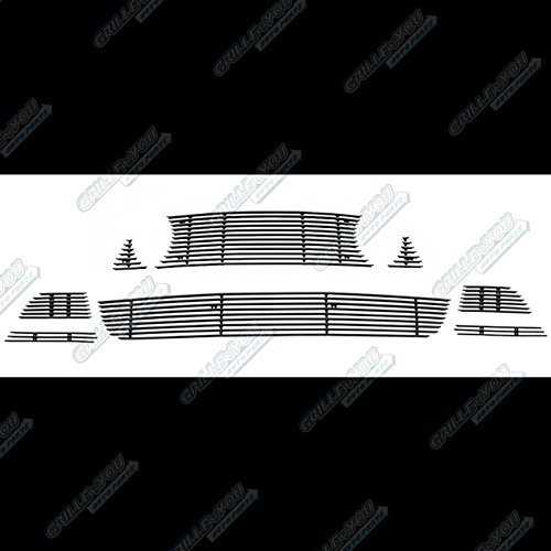 APS Fits 2013-2014 Ford Mustang GT W/Fog Cover Black Billet Grille Combo #F61287H