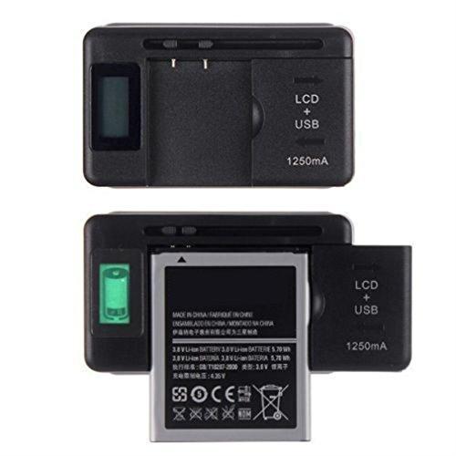 asdomo móvil de visualización universal cargador de batería lcd indicador para teléfonos celulares USB-Port interchanging...