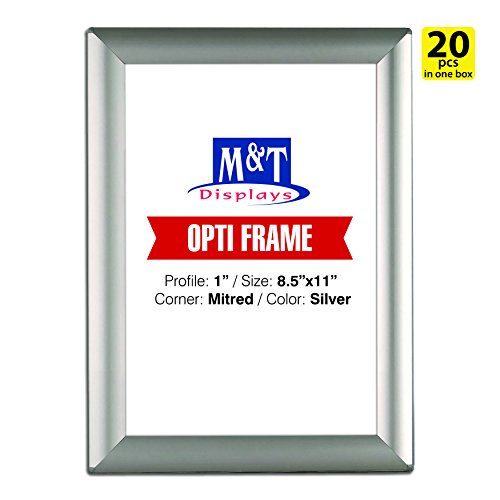 DisplaysMarket 8.5x11  Snap Frame for Wall Mount, Opti Frame, 1 inch Profile-  Silver, 20 by DisplaysMarket