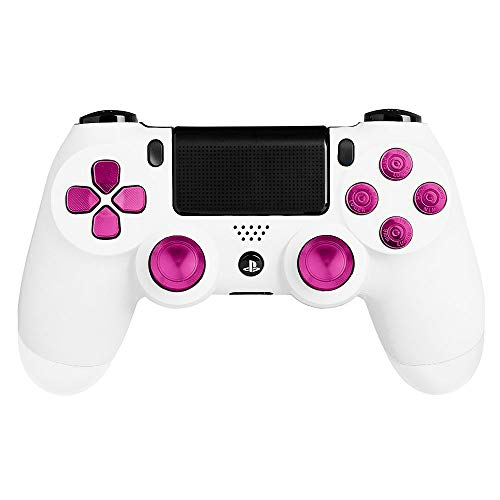 XFUNY(TM) Metal Bullet Buttons ABXY Buttons + Thumbsticks Thumb Grip and Chrome D-pad for Sony PS4 DualShock 4 Controller Mod Kit (Rose Red)