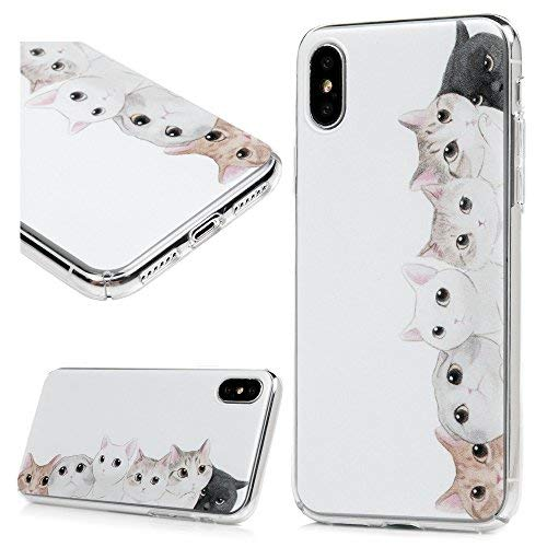 finest selection 61ed1 71c22 iPhone Xs Case, iPhone X Case, Clear Transparent Frame Full Body Coverage  Case Painted Fancy Pattern Slim Fit Hard PC Plastic Shell Skin Case ...