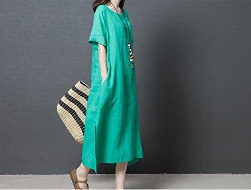 Estivo Tasche Di Stile Lino Di Corte Coolred Popolare Maniche donne Verde Allentato Vestito 46ZxqwPxY
