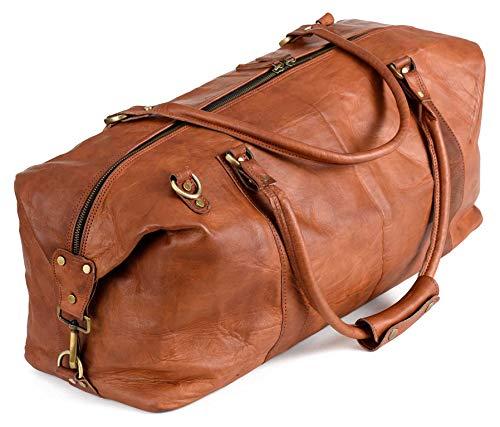 Berliner Bags München Weekender Reisetasche - Geeignet als Handgepäck bei den meisten Airlines - Leder Herren Braun Groß
