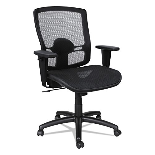 Alera ET4218 Etros Series Mesh Mid-Back Synchro Tilt Chair, Mesh Back/Seat, Black by Alera