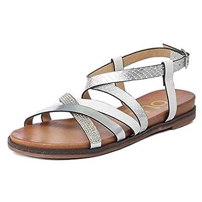 gracosy Dam Casual Strappy sandaler sommar ankelrem promenadskor skor öppen tå platt gladiator string flip flop halkfria strandskor ryggspänne platta sandaler komfort inomhus utomhus