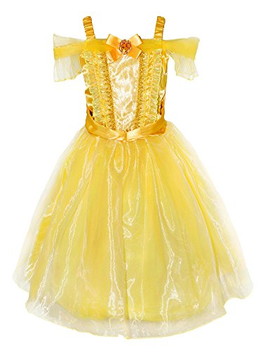 Wenge Princess Belle Ball Gown Cosplay Costume Party Dress for Kids (2-3 Years, Yellow)