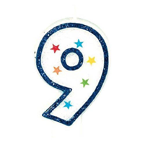 Star Studded Flat Molded Number 9 Celebration Candle, White , 3.5