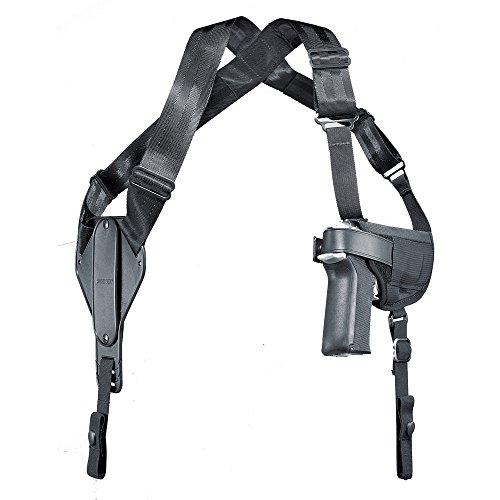 Uncle Mike's Off-Duty and Concealment Kodra Nylon Cross Harness Horizontal Shoulder Holster (Size 15, Black)