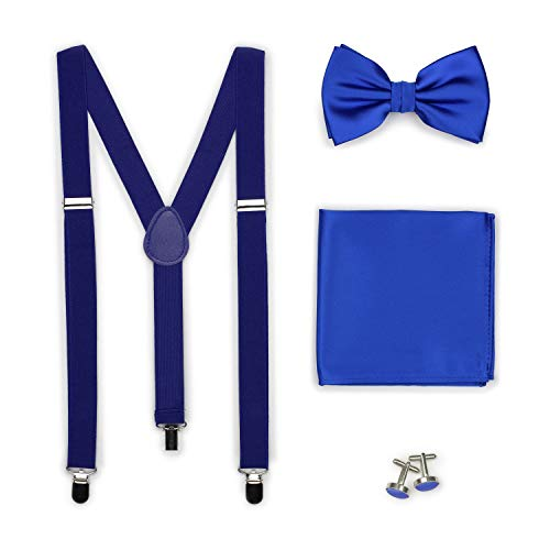 (Bows-N-Ties Men's Set of Matching Solid Color Suspender, Bow Tie, Pocket Square, Cufflinks, Adjustable Length (Marine Blue))