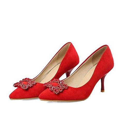 Suede Pink Black Stiletto ZHZNVX Red Black Comfort Spring Heels Zapatos de Mujer Heel Pnwfq