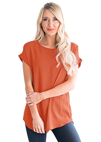 Womens-Tops Cuff-Sleeve Crew-Neck Loose Chiffon-Blouses Casual-Tunics Orange Red L ()