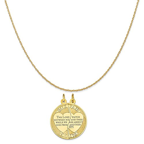 14k Yellow Gold Mizpah Charm on a 14K Yellow Gold Rope Chain Necklace, 20