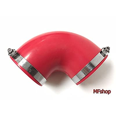 """Qi Motorsports 90 Degree Elbow PVC Rubber with 2 Clamps (3""""-3"""" Red): Automotive"""