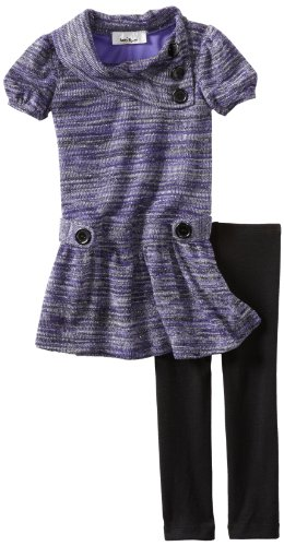 Amy Byer Little Girls' Split Neck Dress With Legging