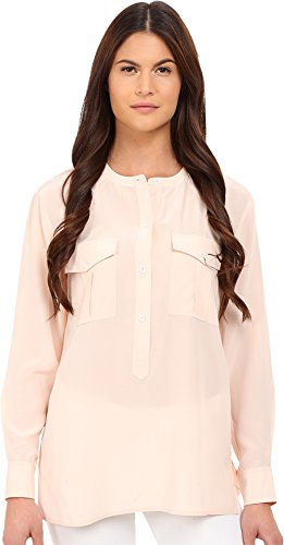 Theory Women's Damaris Summer Silk Blouse Pearl Pink Blouse by Theory