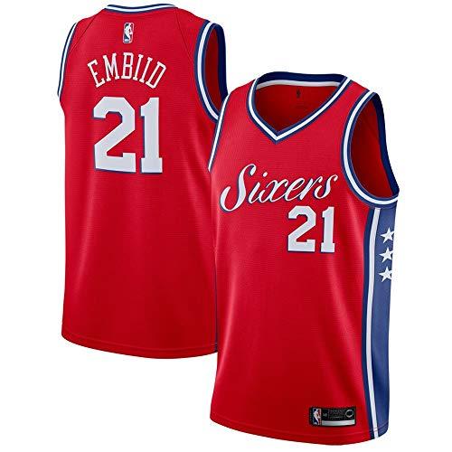 (#21 Joel Embiid Philadelphia 76ers Swingman Jersey - Statement Edition - Red M)