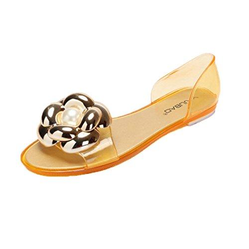 Clode® Damen Sommer Sandalen Strandschuhe Fisch Mund Plastik flache Sandelholze Strand Schuhe Gold