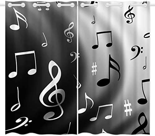 HommomH 42 x 84 inch Curtains 2 Panel Grommet Top Darkening Blackout Room Music Musical Notes