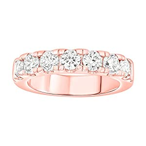 1 1/2 Carat (ctw) 10K Solid Gold Round White Diamond Ladies Anniversary Wedding Stackable Band Ring (rose-gold, 8)