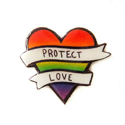 "Ectogasm LGBT Pin ""Protect Love"" Rainbow Pride Heart Button"