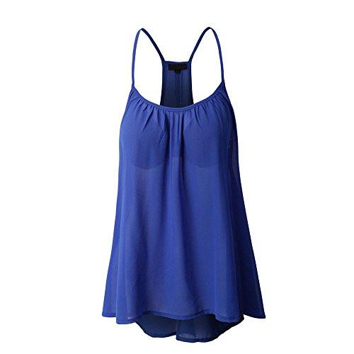 XOWRTE Tops for Women Sexy Sleeveless T-Shirt Women Summer Vest Crop Tank Halterneck Blue Blouse -