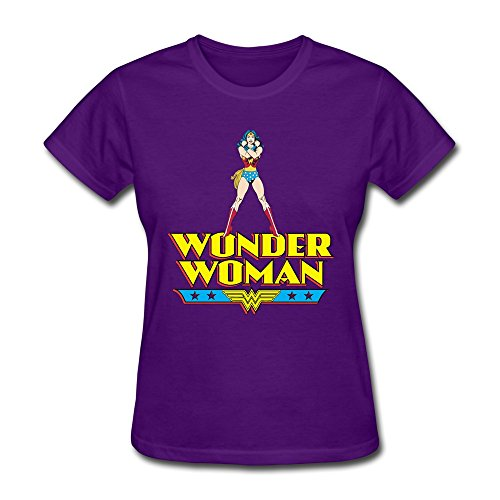 AOPO Wonder Woman WW LOGO Tee Shirts For Women Large Purple
