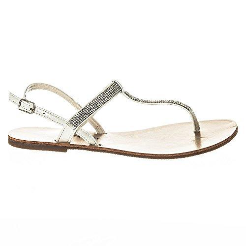T Sandalo Bianco A Cinturino Piatta Con Punta w4Iq4f