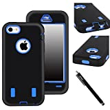 E LV Heavy Duty Rugged Dual Layer Hybrid Armor Defender Case Cover for iPhone 5C Bundle with Screen Protector, Stylus and Microfiber Sticker Digital Cleaner - Black/Blue