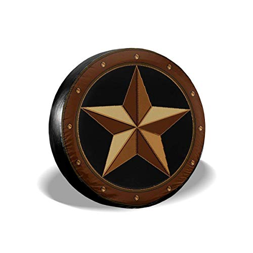 (Yilad Spare Tire Cover Western TES Star Tire Protector Universal Fits for RV Motorhome Camper Travel Trailer Truck Jeep SUV Waterproof Polyester Wheel Protector 16 inch)